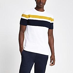 T-shirt slim en maille colour block blanc