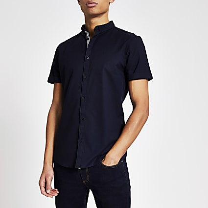 Maison Riviera navy slim fit Oxford shirt