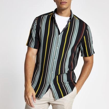 Green stripe slim fit short sleeve shirt