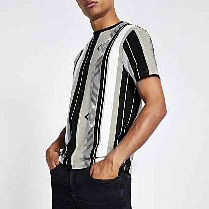 Grey aztec stripe printed slim fit T-shirt