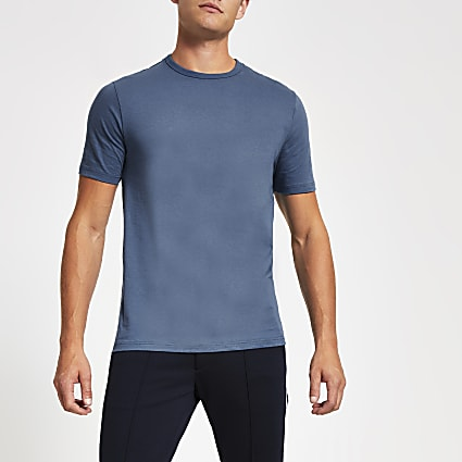 Blue slim fit crew neck T-shirt