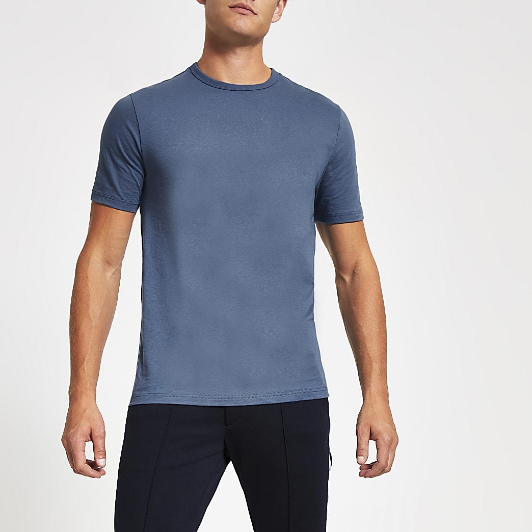 Blauw slim-fit T-shirt met ronde hals