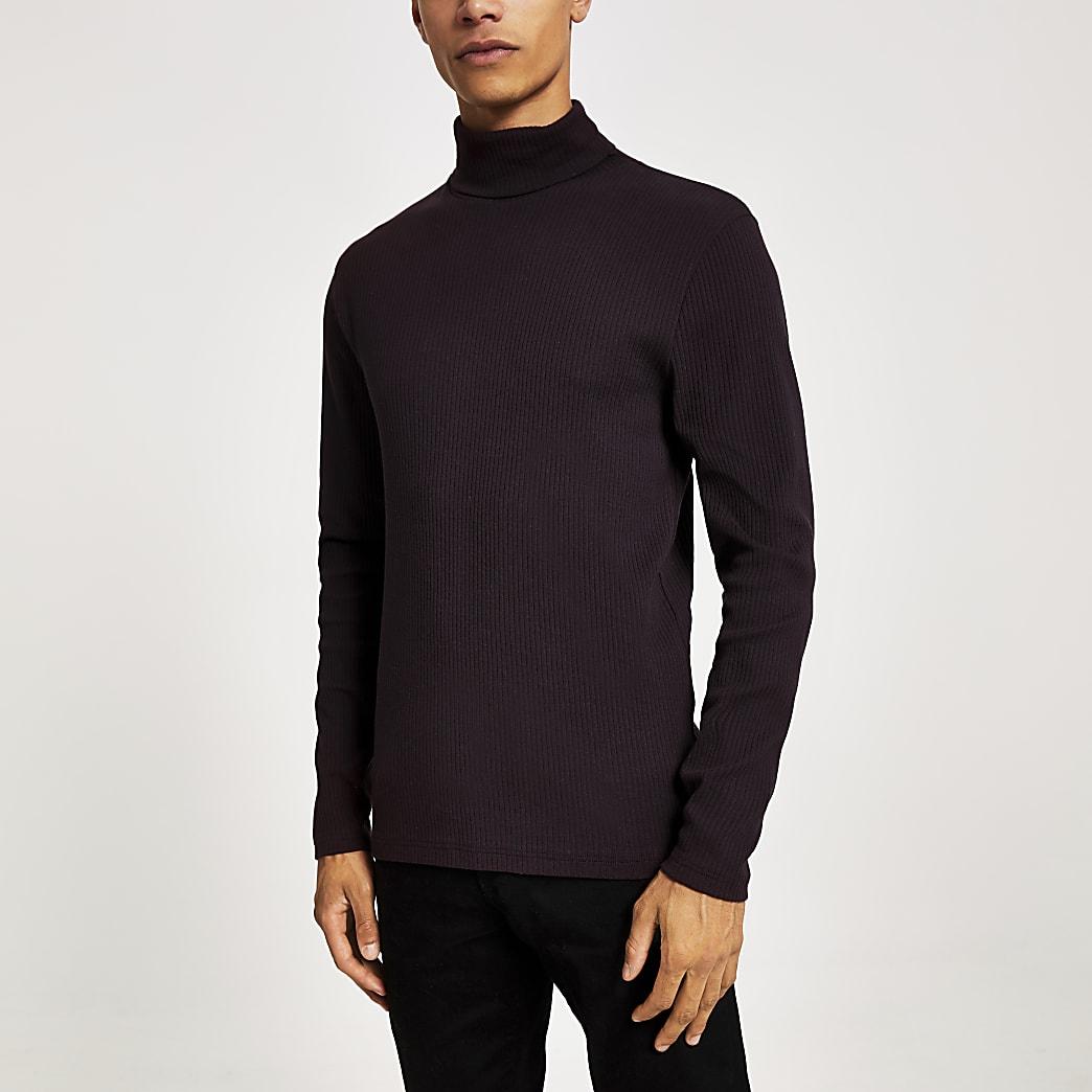 Donkerrood geribbeld T-shirt met col en lange mouwen