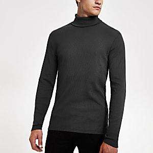 Dunkelgraues, langärmeliges T-Shirt im Slim Fit mit Rollkragen
