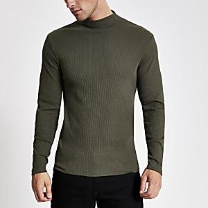 Kaki T-shirt met col en lange mouwen