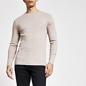 Kiezelkleurig geribbeld slim-fit overhemd met lange mouwen