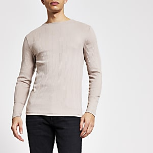 Kiezelkleurig geribbeld muscle-fit T-shirt met lange mouwen