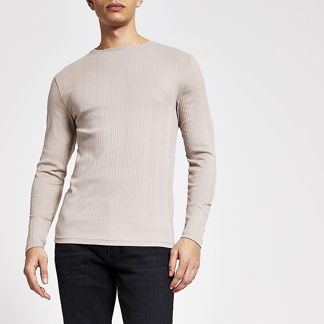 T-shirt côtelé ajusté  grège à manches longues