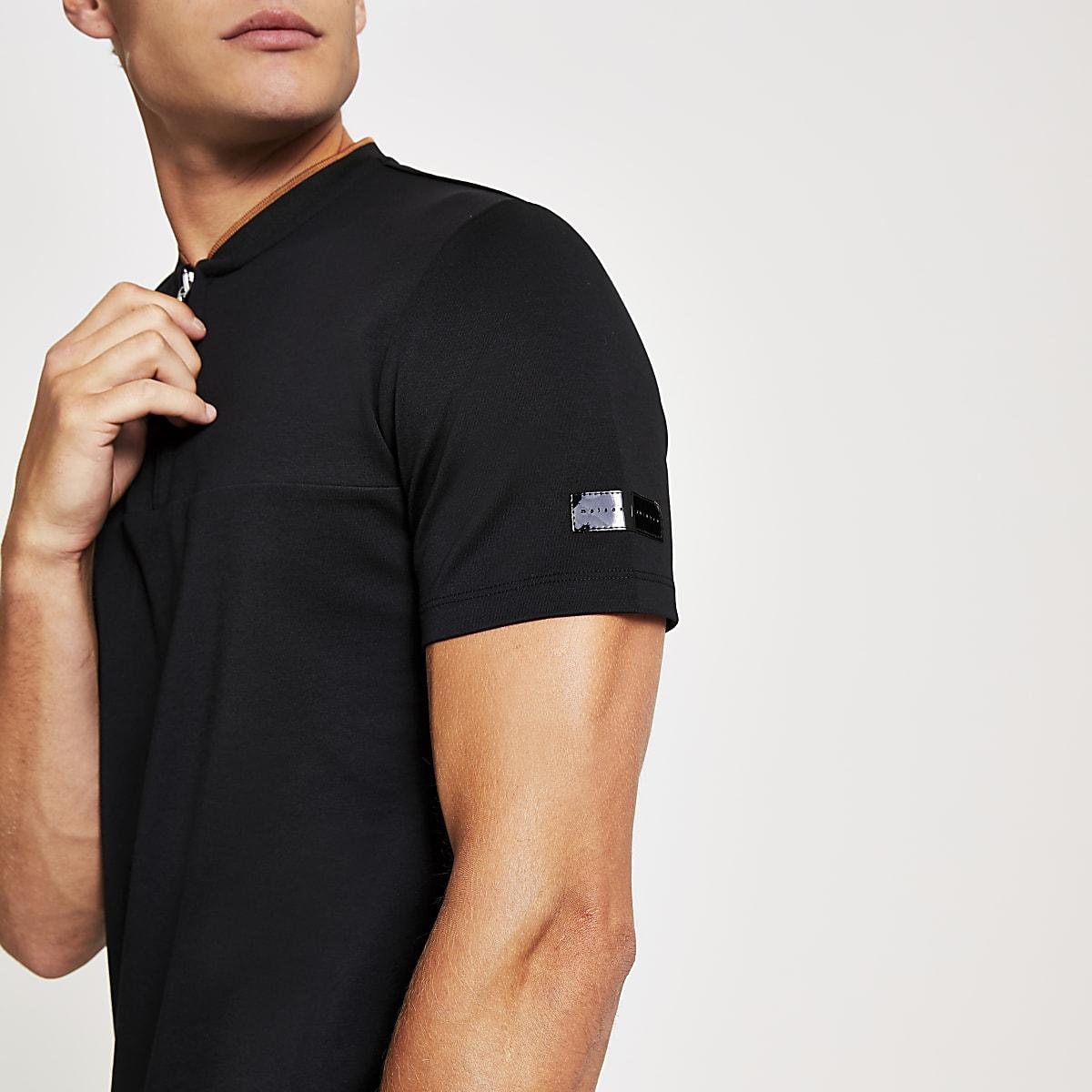 Black Maison Riviera baseball neck polo shirt
