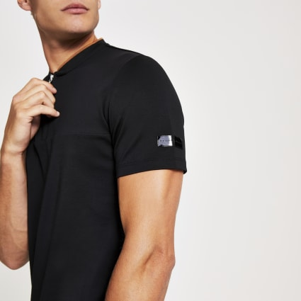 Black Maison Riviera baseball neck polo shirt