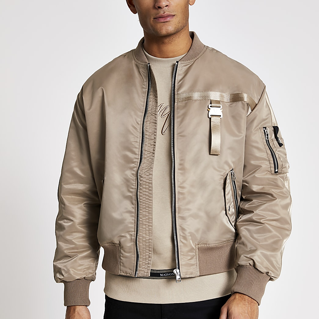 Stone buckle tape bomber jacket
