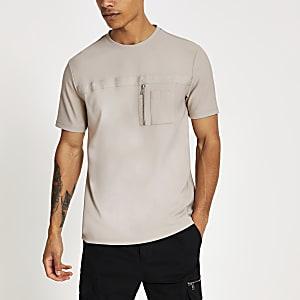 Maison Riviera - Kiezelkleur slim-fit utility T-shirt