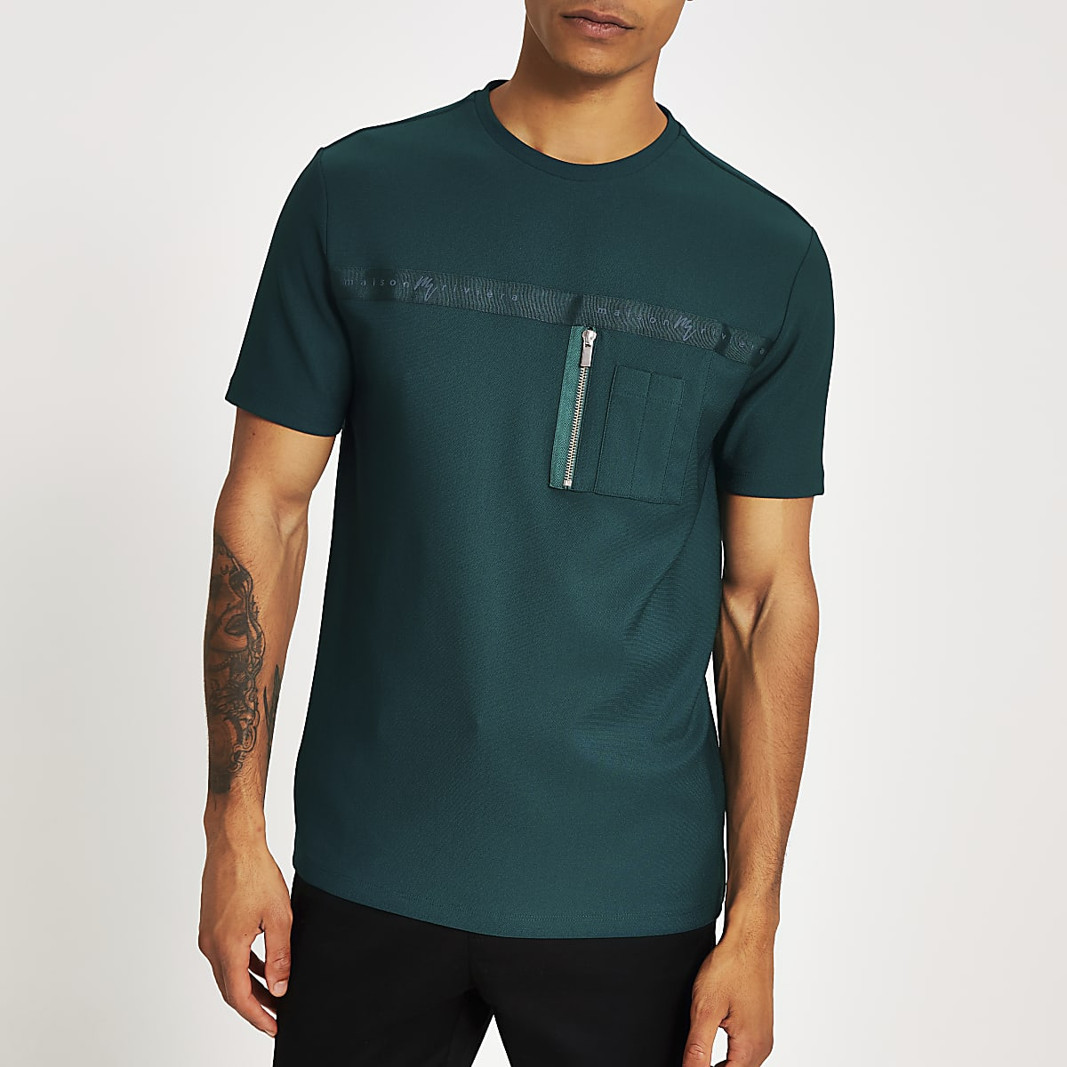 Maison Riviera - Groen slim-fit utility T-shirt