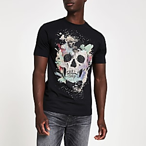 Black diamante skull slim fit T-shirt