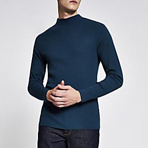Groenblauwe hoogsluitende geribbelde slim-fit top