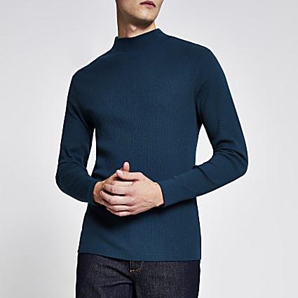 Teal high neck slim fit ribbed jumper