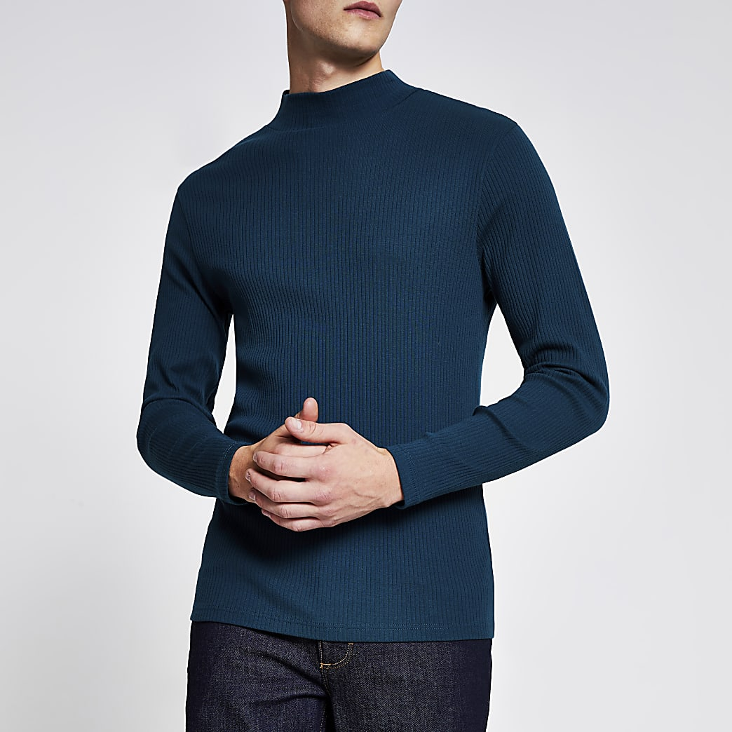 Teal high neck slim fit ribbed top