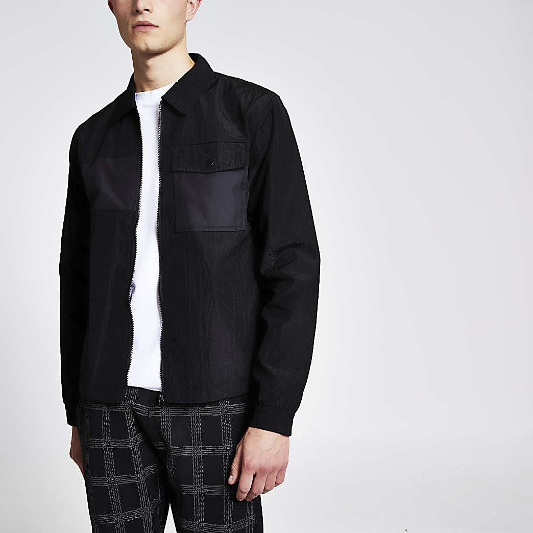 Black nylon long sleeve zip front shirt