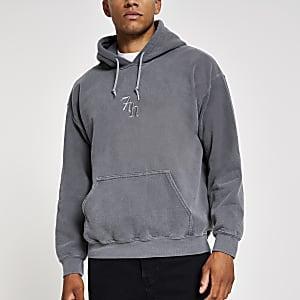 Zwarte washed hoodie met '7th'-print