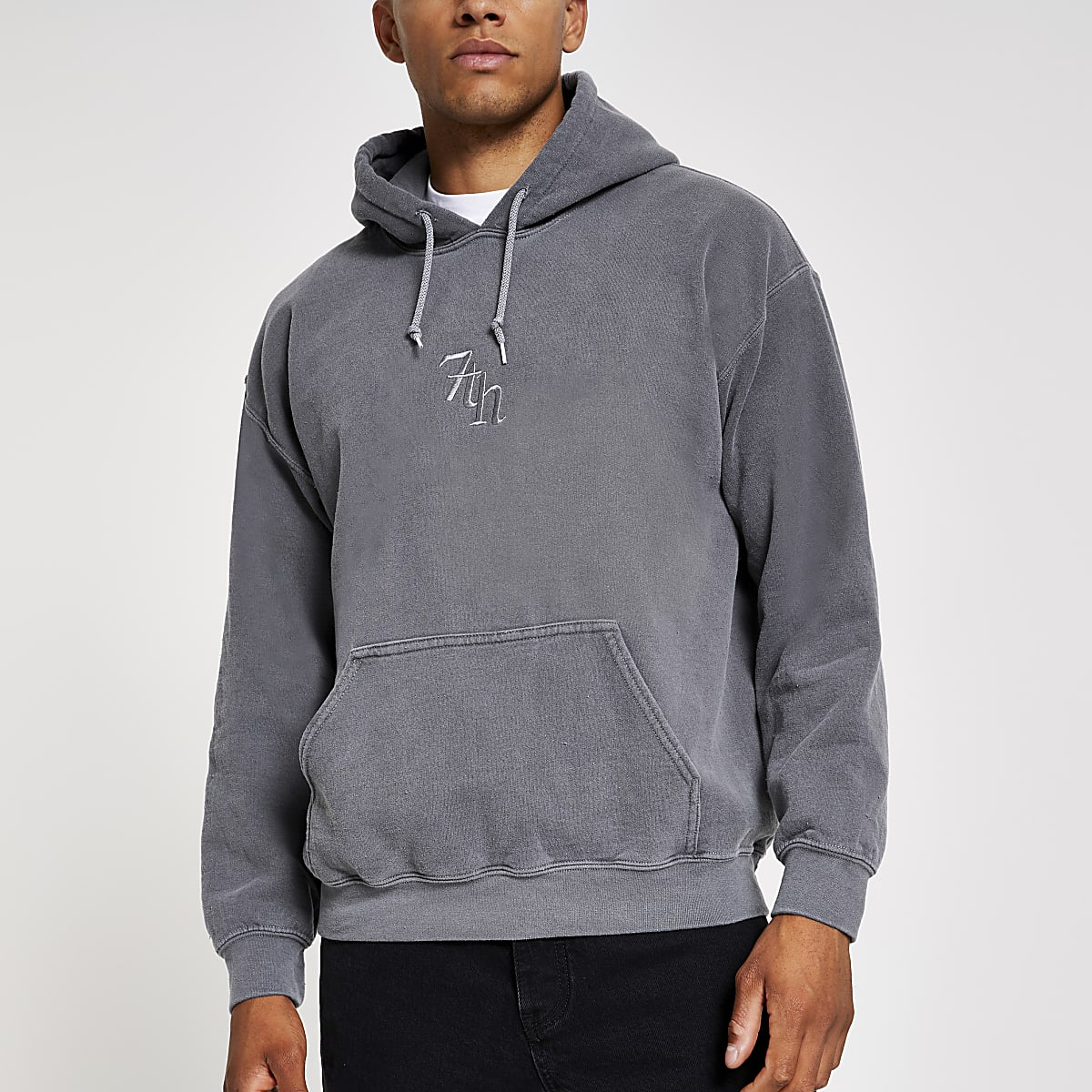 Black washed '7th' embroidered hoodie