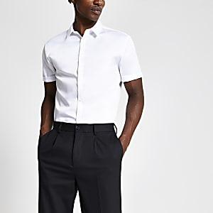 Weißes, kurzärmeliges Slim Fit Premium-Hemd