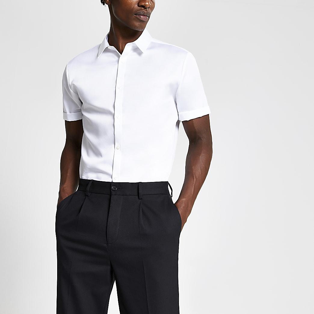 Wit premium slim-fit overhemd met korte mouwen