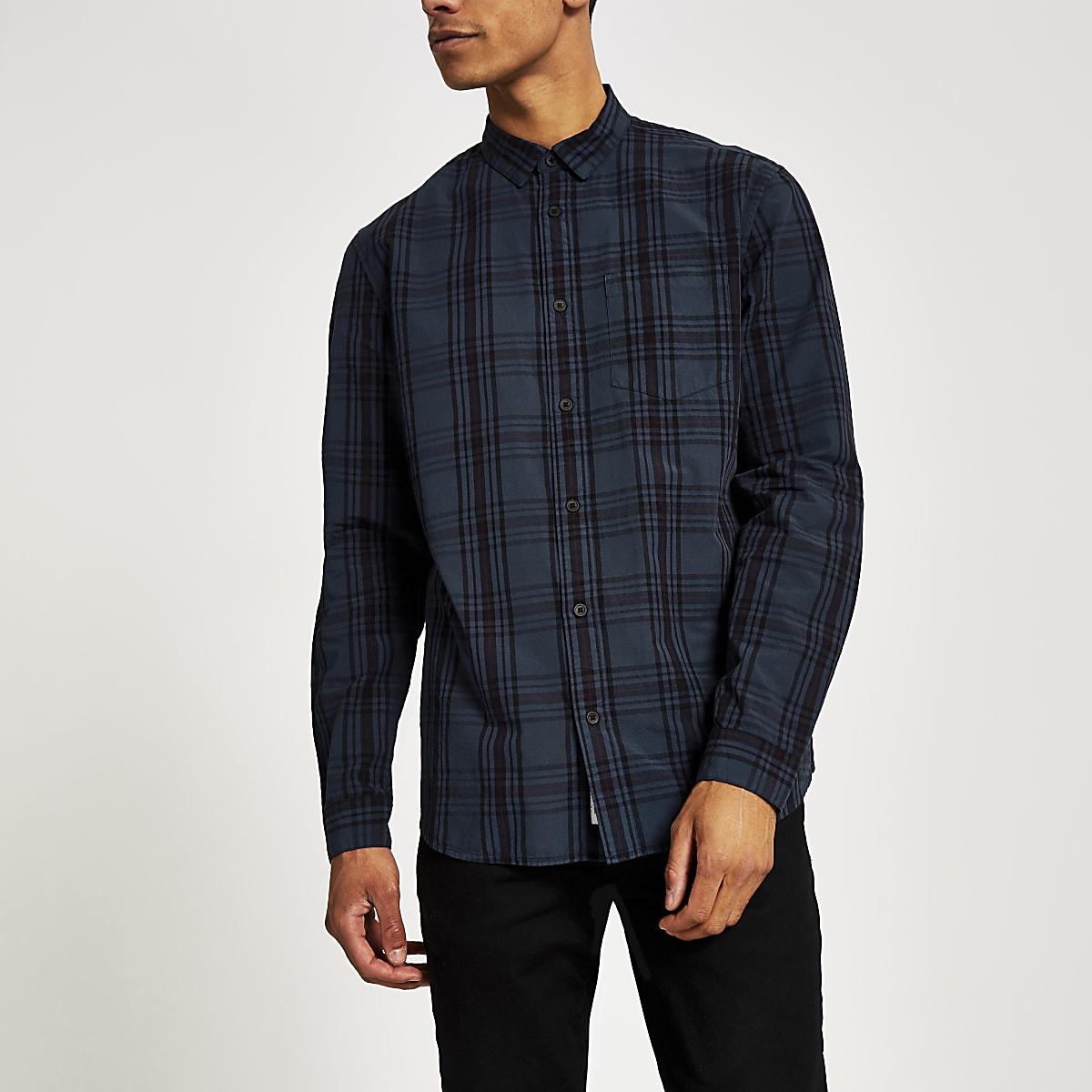 Marineblauw geruit overhemd met lange mouwen en normale pasvorm