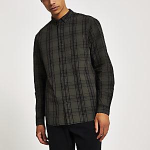 Chemise coupe classique à carreaux couleur kaki à manches longues
