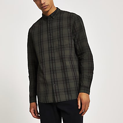 Khaki check long sleeve regular fit shirt