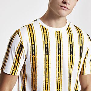 Wit slim-fit T-shirt met kettingprint