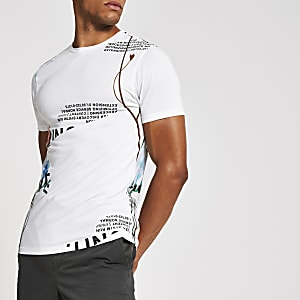 White floral printed slim fit T-shirt