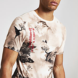 Steingraues, bedrucktes Slim Fit T-Shirt