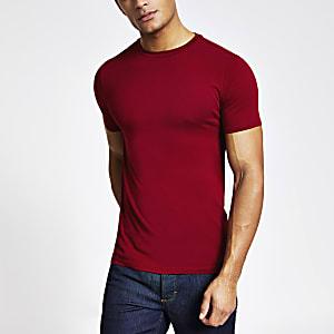 T-shirt ajusté rouge à manches courtes