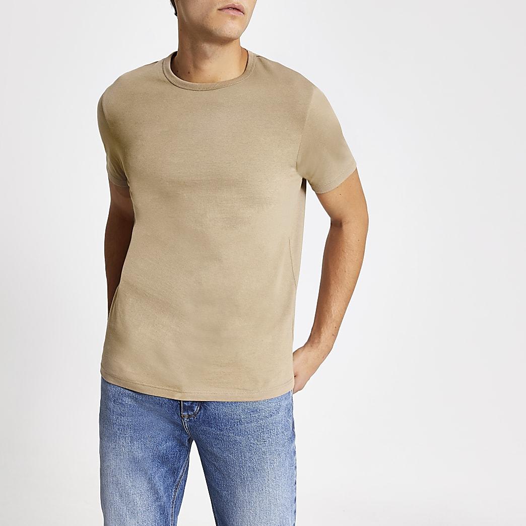 T-shirt ras du cou grège cintré