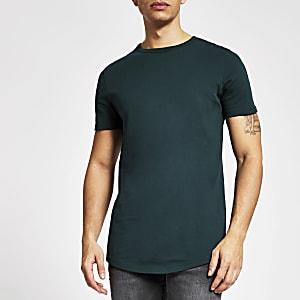 Groenblauw muscle-fit T-shirt met ronde zoom