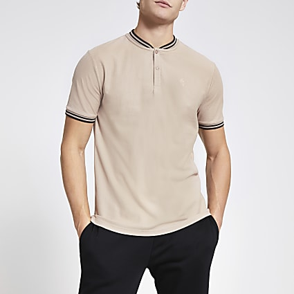 Brown slim fit baseball neck polo shirt