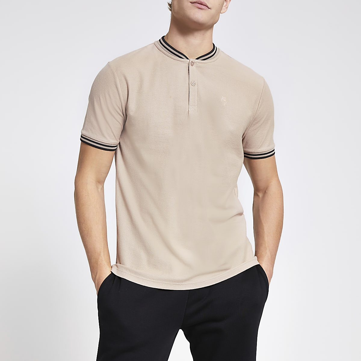 Brown slim fit baseball neck polo shirt