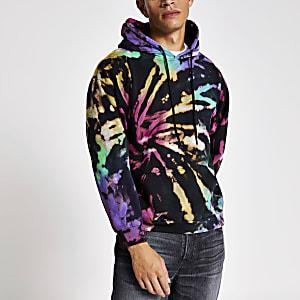 Black tie dye long sleeve hoodie