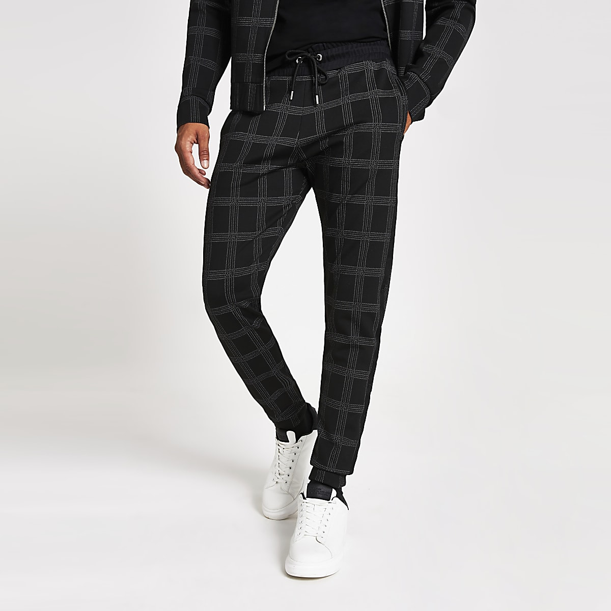 Pantalon de jogging slim noirà carreaux avec bande Maison Riviera