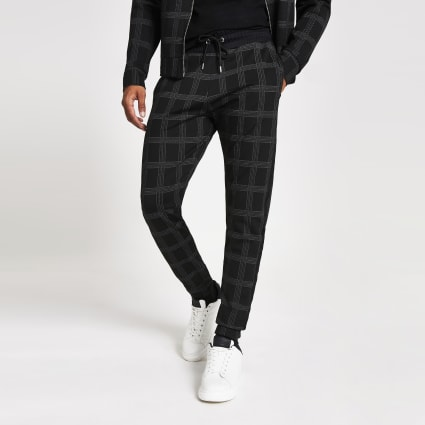 Black check Maison Riviera tape slim joggers