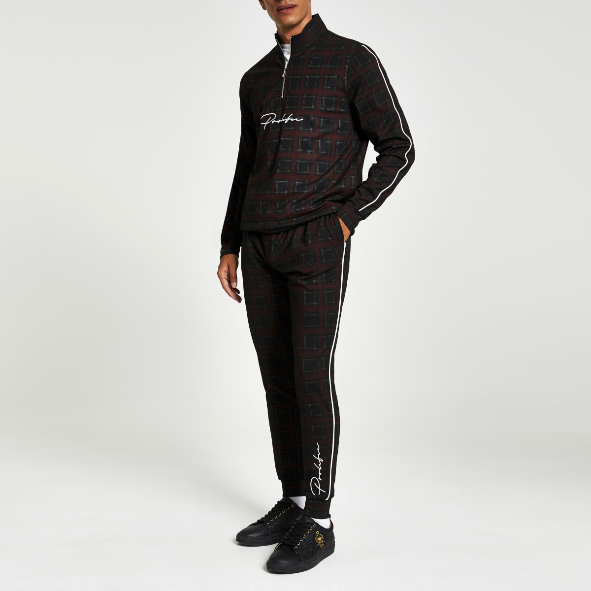 Pantalon de jogging slim rouge à carreauxProlific