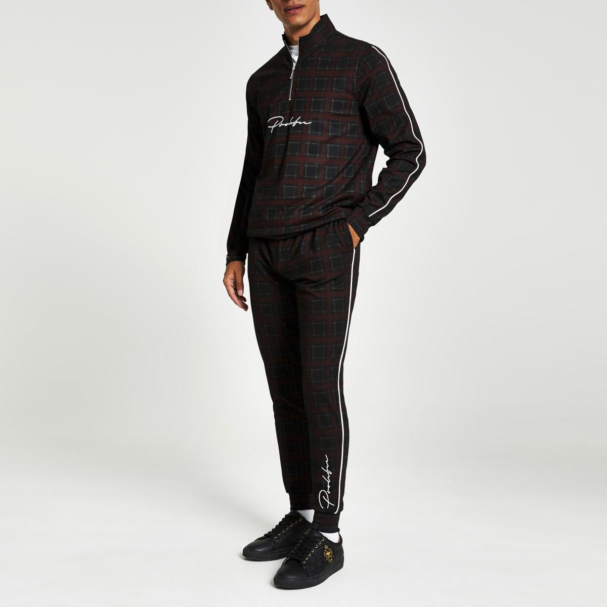 Rode geruite slim-fit joggingbroek met Prolific-print