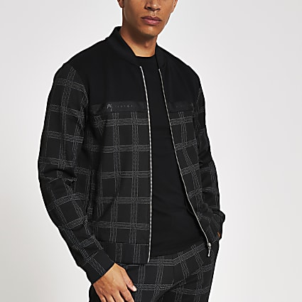 Black check Maison Riviera tape bomber jacket