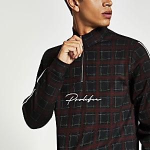 Red check Prolific funnel neck slim fit top