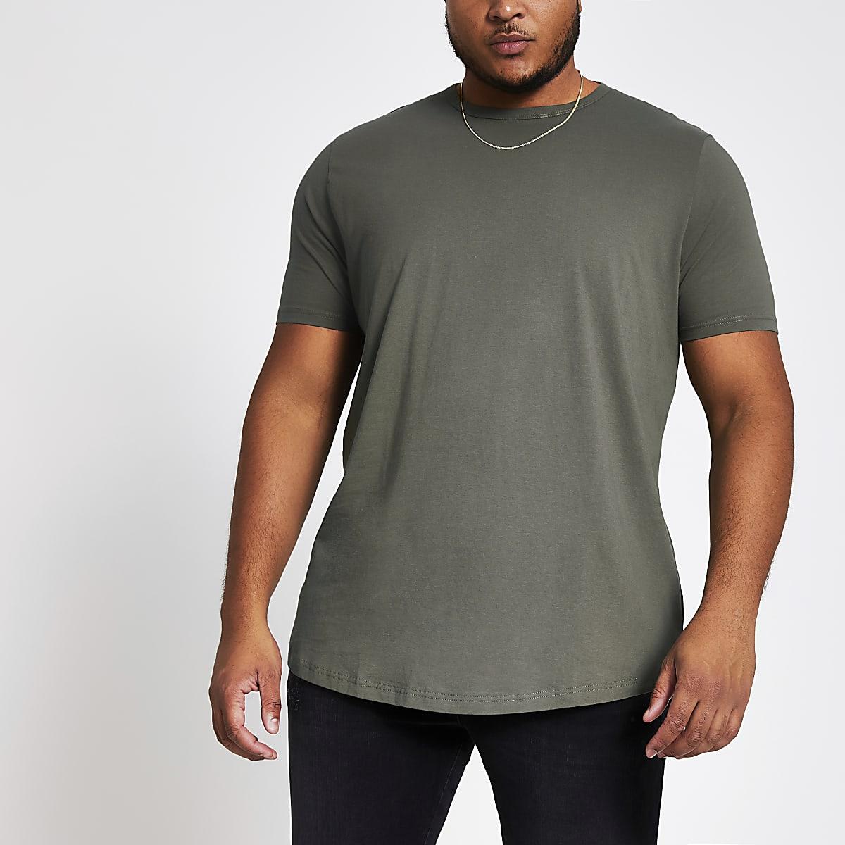 Big and Tall - T-shirt gris foncéà ourlet arrondi