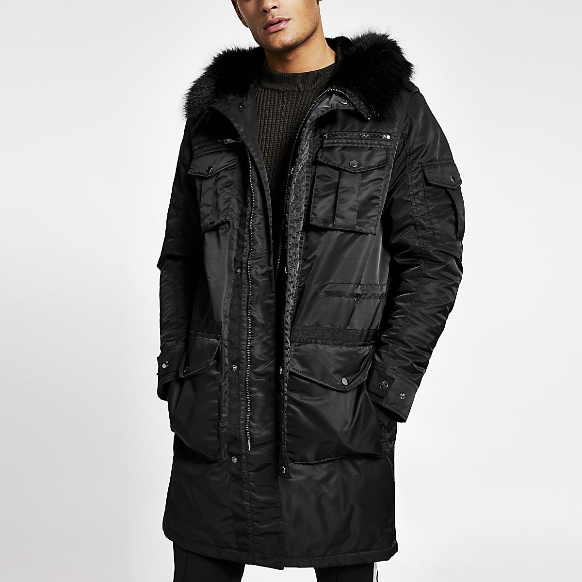 Black faux fur hooded longline parka jacket