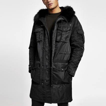 Black faux fur hooded longline parka jacket