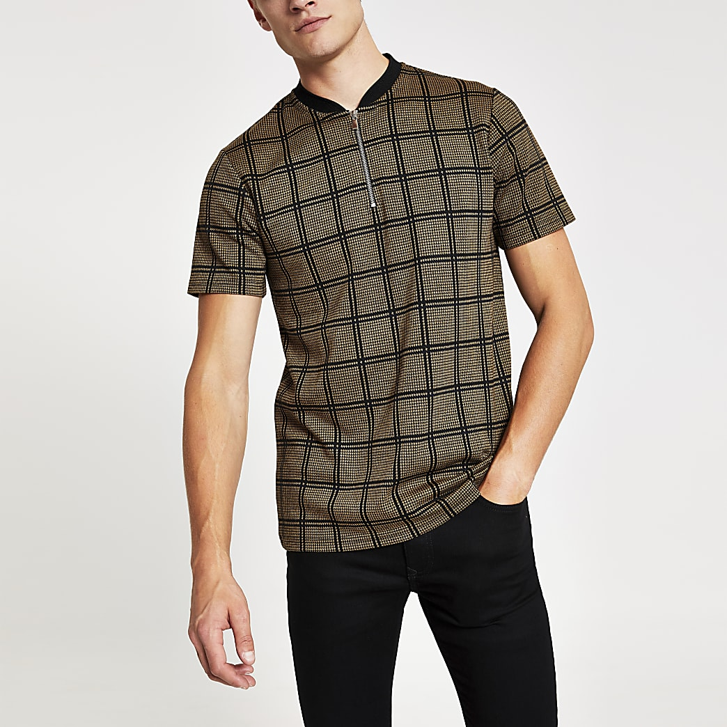 Brown check zip neck slim fit polo shirt