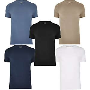 Blue muscle fit T-shirt 5 pack