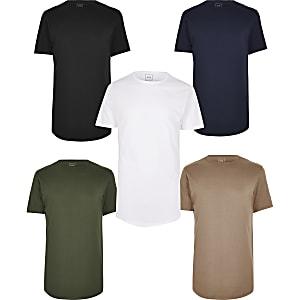 Mehrfarbige, lange T-Shirts im 5er-Pack